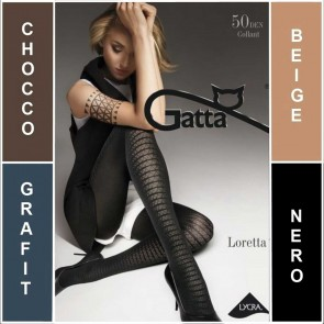 LORETTA 101 GATTA MATT PATTERNED LADIES TIGHTS  * 50 DEN * 2/S - 4/L*