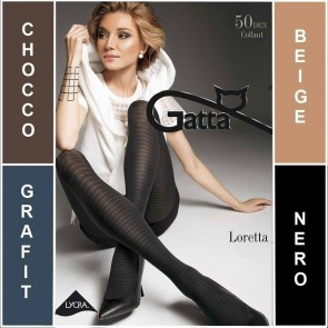 LORETTA 102 GATTA MATT PATTERNED LADIES TIGHTS * 50 DEN * 2/S - 4/L*