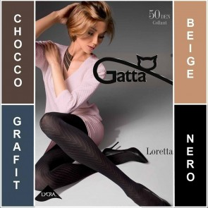 LORETTA 103 GATTA MATT PATTERNED LADIES TIGHTS  * 50 DEN * 2/S - 4/L*