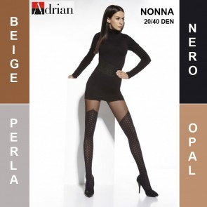 NONNA ADRIAN PATTERNED LADIES TIGHTS  * 20/40 DEN * 2/S - 6/X L*